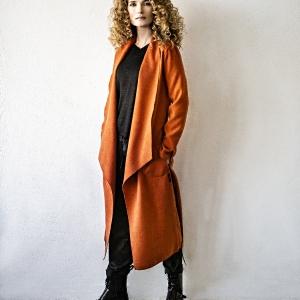 dlouhý ležérní kabát z viskózy |